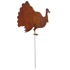 Wrought Iron Rusted Turkey Garden Stake