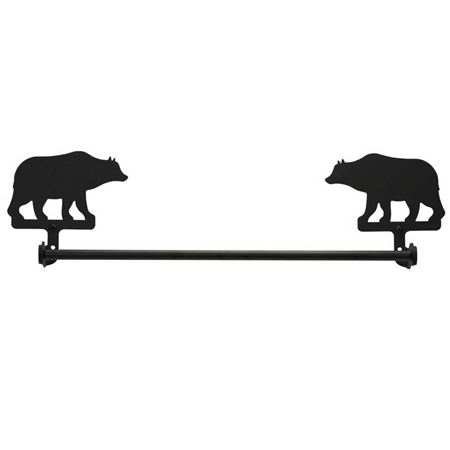 Pictured here is the Black Metal Bear Towel Bar available in 18 and 24 inch widths.