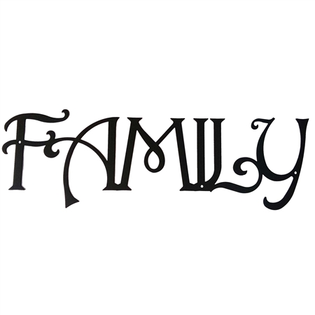 Pictured here is our metal wall art with the inspirational text - Family.