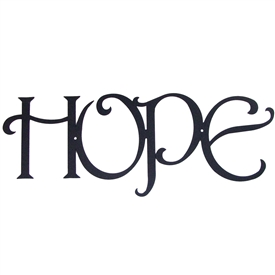 "Pictured here is our metal wall art with the inspirational text ""Hope""."