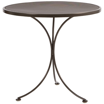 "Pictured is the Micro Mesh Top 30"" Round Bistro Table from Woodard Outdoor Furniture, sold by Timeless Wrought Iron."