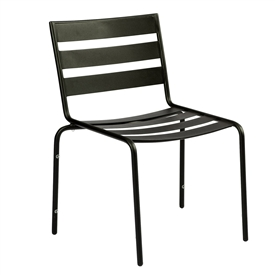 Pictured is the Metro Dining Stackable Side Chair from Woodard Outdoor Furniture, sold by Timeless Wrought Iron.