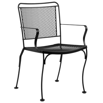 Pictured is the Constantine Dining Stackable Arm Chair from Woodard Outdoor Furniture, sold by Timeless Wrought Iron.