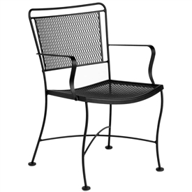 Pictured is the Constantine Dining Arm Chair from Woodard Outdoor Furniture, sold by Timeless Wrought Iron.