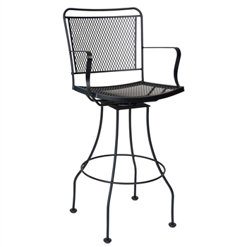 Pictured is the Constantine Swivel Bar Stool from Woodard Outdoor Furniture, sold by Timeless Wrought Iron.