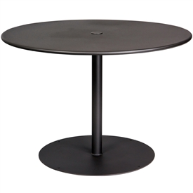 "Pictured is the ADA Solid Iron Top 42"" Round Umbrella Table from Woodard Outdoor Furniture, sold by Timeless Wrought Iron."