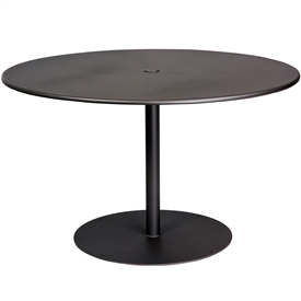 "Pictured is the ADA Solid Iron Top 48"" Round Umbrella Table from Woodard Outdoor Furniture, sold by Timeless Wrought Iron."