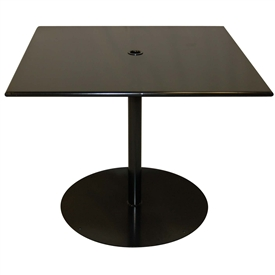 "Pictured is the ADA Solid Iron Top 30"" Square Bistro Table from Woodard Outdoor Furniture, sold by Timeless Wrought Iron."