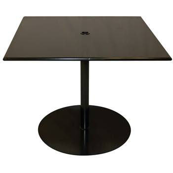 "Pictured is the ADA Solid Iron Top 36"" Square Umbrella Table from Woodard Outdoor Furniture, sold by Timeless Wrought Iron."