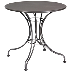 "Pictured is the Solid Iron Top 30"" Round Bistro Table from Woodard Outdoor Furniture, sold by Timeless Wrought Iron."