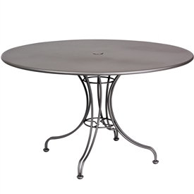 "Pictured is the Solid Iron Top 48"" Round Umbrella Table from Woodard Outdoor Furniture, sold by Timeless Wrought Iron."