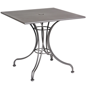"Pictured is the Solid Iron Top 30"" Square Bistro Table from Woodard Outdoor Furniture, sold by Timeless Wrought Iron."