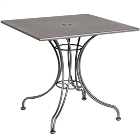 "Pictured is the Solid Iron Top 36"" Square Umbrella Table from Woodard Outdoor Furniture, sold by Timeless Wrought Iron."