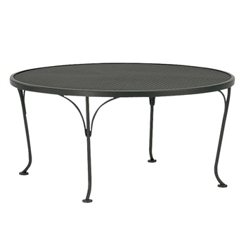 "Pictured is the Occasional Mesh Top 36"" Round Coffee Table from Woodard Outdoor Furniture, sold by Timeless Wrought Iron."