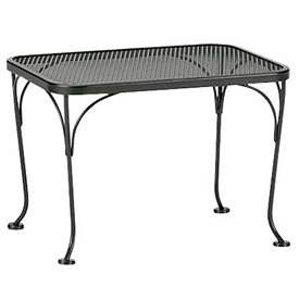 "Pictured is the Mesh Top 18"" x 24"" Rectangle Side Table from Woodard Outdoor Furniture, sold by Timeless Wrought Iron."