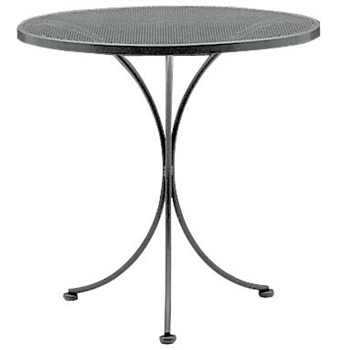 "Pictured is the Set-Up Micro Mesh 30"" Round Top Bistro Table from Woodard Outdoor Furniture, sold by Timeless Wrought Iron."