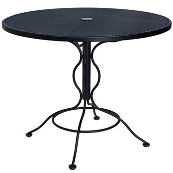 "Pictured is the Set-Up Micro Mesh 36"" Round Top Bistro Table from Woodard Outdoor Furniture, sold by Timeless Wrought Iron."