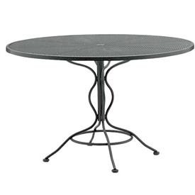 "Pictured is the Set-Up Micro Mesh 48"" Round Top Table from Woodard Outdoor Furniture, sold by Timeless Wrought Iron."