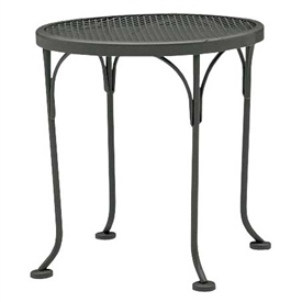 "Pictured is the Occasional Mesh Top 17"" Round End Table from Woodard Outdoor Furniture, sold by Timeless Wrought Iron."
