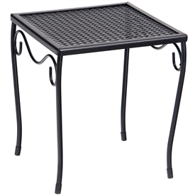 Pictured is the Occasional Mesh Top Small Square End Table from Woodard Outdoor Furniture, sold by Timeless Wrought Iron.