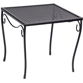 Pictured is the Occasional Mesh Top Medium Square End Table from Woodard Outdoor Furniture, sold by Timeless Wrought Iron.