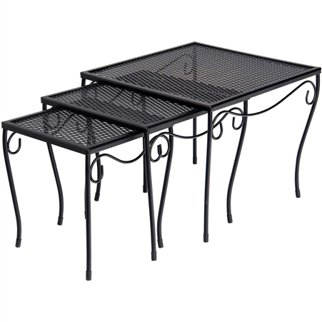 Pictured is a Set of Three Occasional Square Nesting Tables from Woodard Outdoor Furniture, sold by Timeless Wrought Iron.