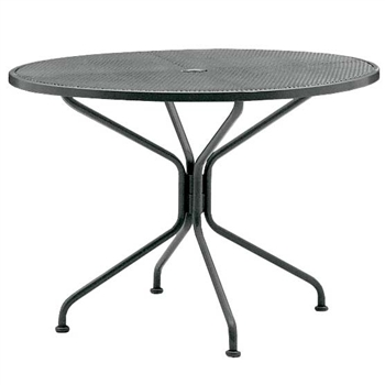 "Pictured is the 42"" Round Umbrella Dining Table with Mesh Top from Woodard Outdoor Furniture, sold by Timeless Wrought Iron."