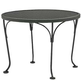 "Pictured is the 24"" Round Occasional Mesh Top Outdoor End Table from Woodard Outdoor Furniture, sold by Timeless Wrought Iron."
