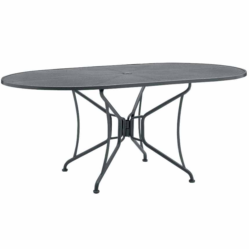 pictured mesh top oval dining table umbrella hole wrought iron patio rectangular furniture