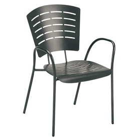 Pictured is the Brio Stackable Arm Chair from Woodard Outdoor Furniture, sold by Timeless Wrought Iron.