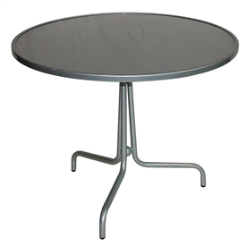 "Pictured is the Brio 36"" Round Bistro Solid Top Table from Woodard Outdoor Furniture, sold by Timeless Wrought Iron."