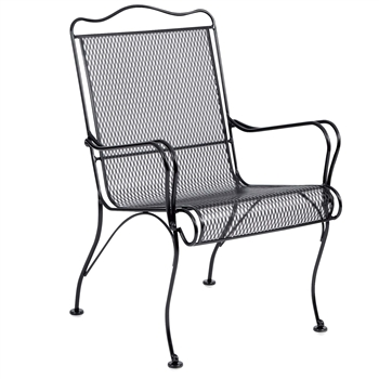 Pictured is the Tucson High Back Patio Dining Chair with Arms from Woodard Outdoor Furniture, sold by Timeless Wrought Iron.