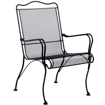 Pictured is the Tucson High Back Lounge Chair from Woodard Outdoor Furniture, sold by Timeless Wrought Iron.
