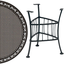 Pictured is the Easton Outdoor End Table with 22 inch Empire Top from Woodard, sold by Timeless Wrought Iron.