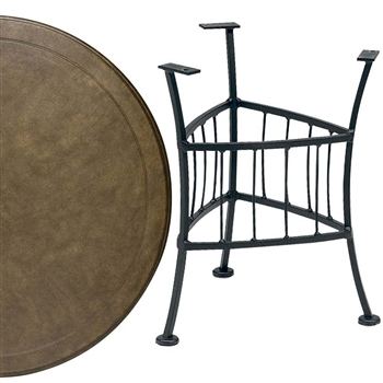 Pictured is the Easton Outdoor End Table with 22 inch Solid Cast Top from Woodard, sold by Timeless Wrought Iron.