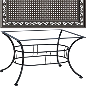 Pictured is the Easton Coffee Table with 36 x 48 Empire Top from Woodard Outdoor Furniture, sold by Timeless Wrought Iron.