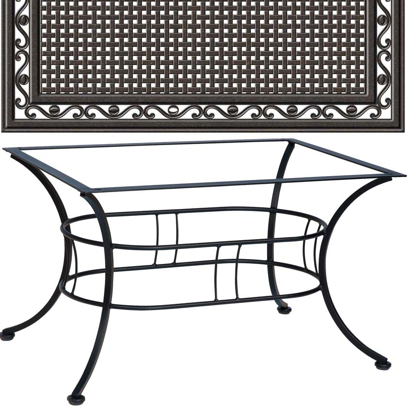 Easton coffee table with 36 x 48 empire cast iron top for Coffee table 48 x 36