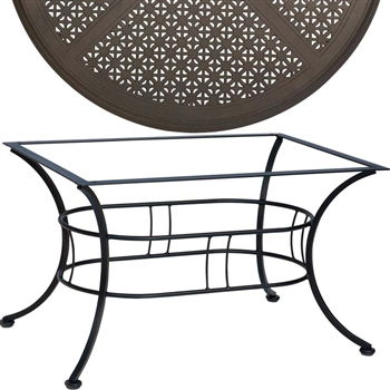 Pictured is the Easton Outdoor Coffee Table with 36 x 48 Hampton Top from Woodard Outdoor Furniture, sold by Timeless Wrought Iron.
