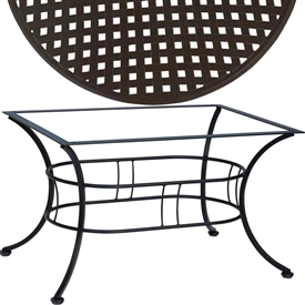 "Pictured is the Easton 36"" x 48"" Coffee Table with Thatch Top from Woodard Outdoor Furniture, sold by Timeless Wrought Iron."