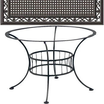 Pictured is the Easton Chat Table with Empire Top from Woodard Outdoor Furniture, sold by Timeless Wrought Iron.
