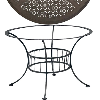 Pictured is the Easton Chat Table with Hampton Top from Woodard Outdoor Furniture, sold by Timeless Wrought Iron.