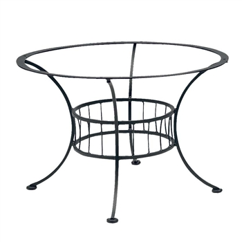 Pictured is the Easton Chat Table with Napa Top from Woodard Outdoor Furniture, sold by Timeless Wrought Iron.