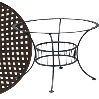 Pictured is the Easton Chat Table with Thatch Top from Woodard Outdoor Furniture, sold by Timeless Wrought Iron.