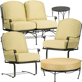 Pictured here is the Fullerton 5 pc. Lounge Set manufactured by Woodard.