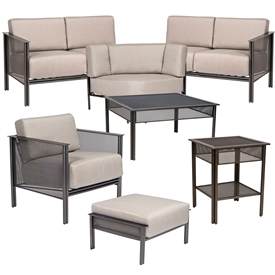Pictured here is the Jax 5 pc. Lounge Set manufactured by Woodard.