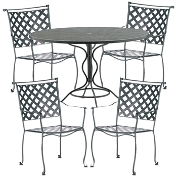 Pictured here is the Maddox 5 pc. Dining Set manufactured by Woodard.