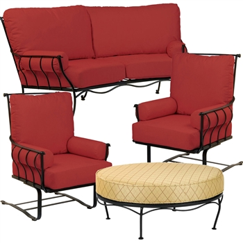 Pictured here is the Maddox 4 pc. Lounge Set manufactured by Woodard.