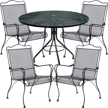 Pictured here is the Tucson 5 pc. Dining Set manufactured by Woodard.