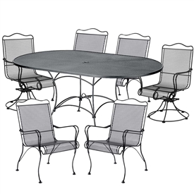 Pictured here is the Tucson 7 pc. Dining Set manufactured by Woodard.