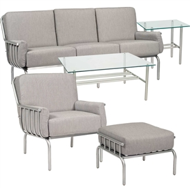 Pictured here is the Uptown 5 pc. Lounge Set manufactured by Woodard.
